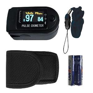 Fingerpulsoximeter Pulsoximeter TIGA-50D Schwarz OLED Display Herzfrequenzmesser SPO2 Sauerstoffsättigung Messung mit incl. Batterien/Tasche/Trageband dt. Anleitung 1 Stück