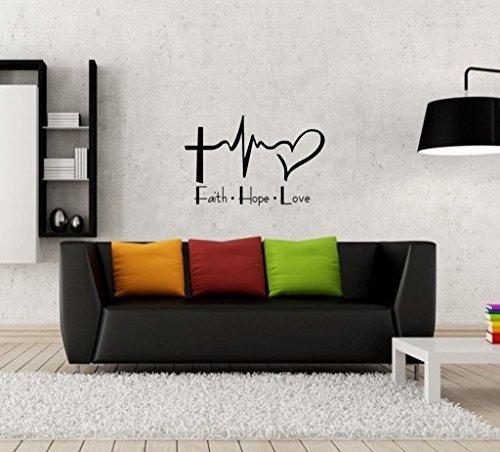 Faith Hope Love Wandbild Aufkleber Zitat Vinyl Schriftzug Family Wandtattoo Aufkleber Wohnzimmer Schlafzimmer Art Wand Home Decor (Vinyl-schriftzug Home Decor)