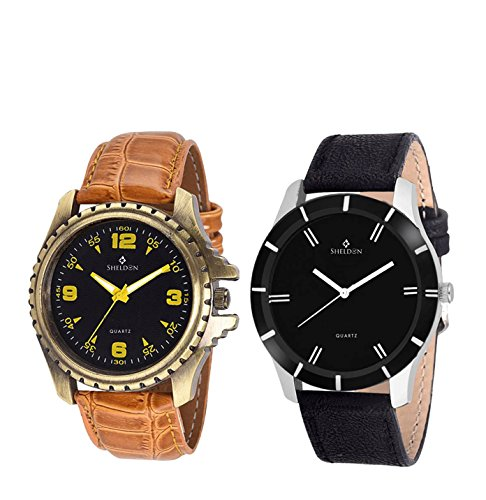 Sheldon Brown, Black Leather Analog Watch For Men Combo Of 2