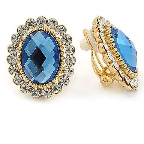 Clous d'oreille ovale cristal bleu/transparent clip sur Boucles d'oreilles en plaqué or–23mm