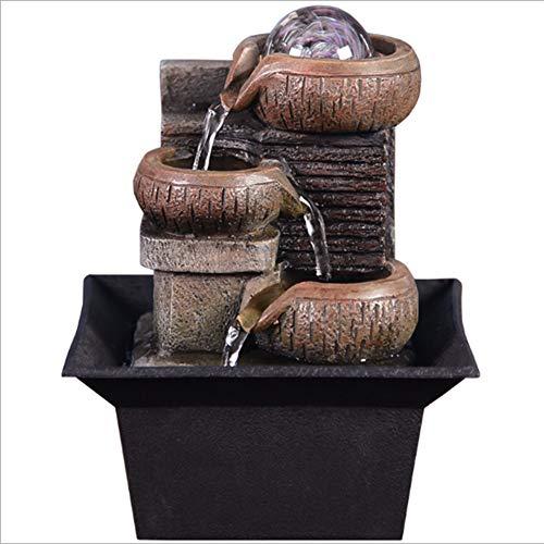 Wasdop fontana interna, caratteristica dell'acqua fontana zen coperta, fontana per acqua the feature ornaments decorazione del giardino di casa, pompa dell'acqua sfera di cristallo (14x14x18.5cm)