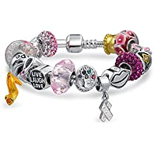 Bling Jewelry ruban rose sensibilisation au cancer du sein cordon bracelet 925