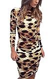 Frauen Heißen Lange Ärmel Rückenfrei Leopard Bodycon Night Club Kleid Leopard S