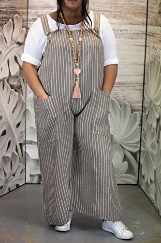 Charleselie94® - Combinaison salopette pantalon femme lin grande taille beige DIMITRI BEIGE Beige