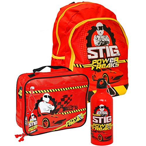 Top Gear® The Stig Power Freaks Official Kids Children School Travel Rucksack Backpack Bag, Lunch Bag and Metal Bottle Set – BBC Top Gear TV Show Official Merchandise