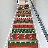 XUE Treppenhaus Aufkleber Weihnachten verkleiden Sich rote und grüne Farbe passend Treppen dekorative Wandaufkleber Aufkleber Tapete Wandbilder Kunst Dekor Wandtuch