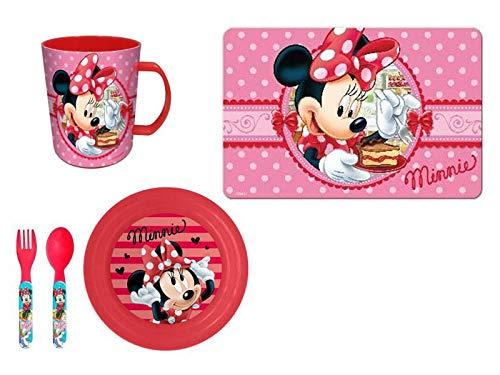 Minnie Maus Frühstücks-Set (Müslischale, Becher, Besteck, Platzdeckchen) (Motiv 2) Frühstück Becher-set