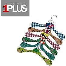 1Plus alta calidad perchas infantiles en práctico 6–Juego de perchas de madera en un montón de animales Looks