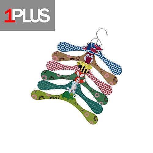 Pudel Kleider (1PLUS Hochwertige Kinder Kleiderbügel im praktischen 6er Spar-Set - Holz-Kleiderbügel in tollen Tier-Looks (Tiere 2)