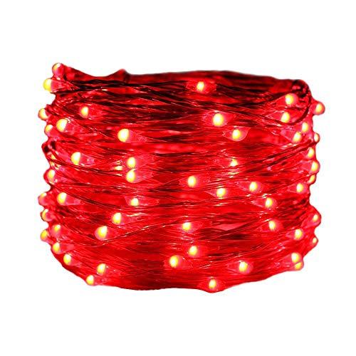 0M Lichterkette mit 24 Tasten Fernbedienung IP66 Wasserdicht LED Licht Dekoration für Weihnachten,Party, Hochzeit,Hof,String Lights (rot) ()