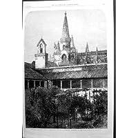 Stampa Antica di Batalha Portogallo Dalla Fotografia Dal Mt C Thurston 1867 - Antichi Da Collezione Delle Fotografie