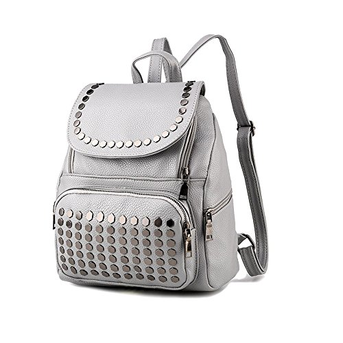 Saint Kaiko PU Leder Wanderrucksäcke Schulrucksäcke Rucksäcke Schulranzen Jungen Schulrucksäcke Jungen Schultasche Zum Reisen oder zur Schule Gehen (schwarz) grau