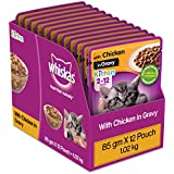 Whiskas Kitten (2-12 months) Wet Cat Food, Chicken in Gravy, 12 Pouches (12 x 85g)