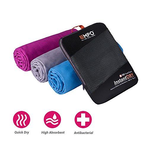 EMPO Microfaser Handtuch groß 140cmx80cm Sporttuch - super absorbierendes und schnell trocknendes - perfekt für Reisen, Rucksacktours, Schwimmen, Strand, Bad oder zu Hause - Neues Paket - Grau