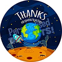 Planet Earth Space Sticker Labels (24 Stickers, 4.5cm Each) NON PERSONALISED Seals Ideal for Party Bags, Sweet Cones, Favours, Jars, Presentations Gift Boxes, Bottles, Crafts
