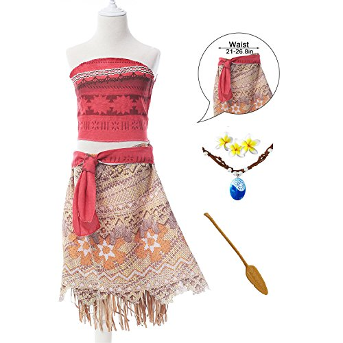 Moana Girls Adventure Outfit Cosplay Costume Skirt Set with Necklace, Flower&Oar (9 - 10 years)