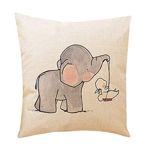 OYSOHE Netter kleiner Elefant dekorative Kissen Bezüge Sofakissen Leinen Zuhause Kissenbezug(C,Einheitsgröße