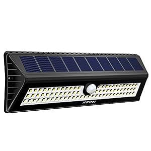 Luce Solare Mpow 77LED con Sensore di Movimento, Lampada Impermeabile IP65 a Parete Luminosa, Luce Solare 3 Modalità di Illuminazione e 120 Grado di Rilevamento Angolo, Grandi Luci Solari Esterne Per Giardino, Vialetto, Cantiere, Garage, Percorso e Patio