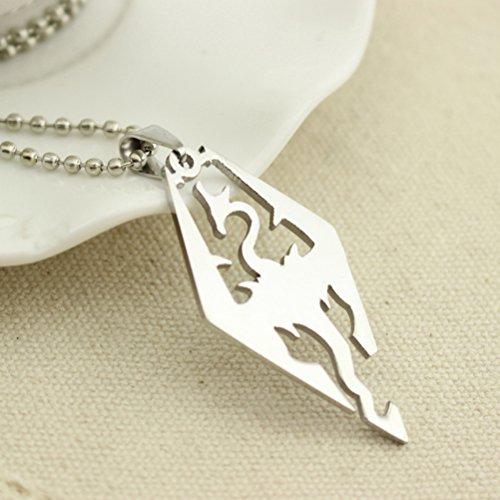 Skyrim Elder Scrolls Drachen-Anhänger Halskette (Kugelkette) Dragonborn Edelstahl