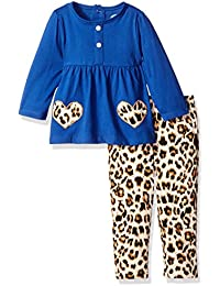 BON BEBE Baby Girls' 2 Piece Top with Rear Snap Neck Opening and Legging Set