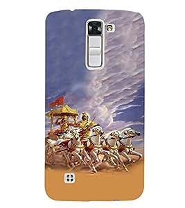 Fiobs Krishna Arjun Rath Attack White Orange Designer Back Case Cover For Lg K3 :: Lg K3 Dual K100 Ls450