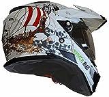MX Enduro Quad Helm Fullgas Viking matt weiß mit Visier und Sonnenblende S
