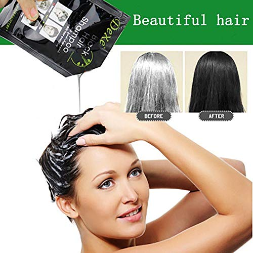 Wokee 10Pcs Schwarz Hair Color Intensivtönung,Instant Natural Haarfärbemittel,Glanz Reflex