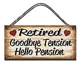 Shabby Chic colgante de pared placa. retirado adiós tensión Hello pensión regalo presente cumpleaños ocasión de madera Funny Sign