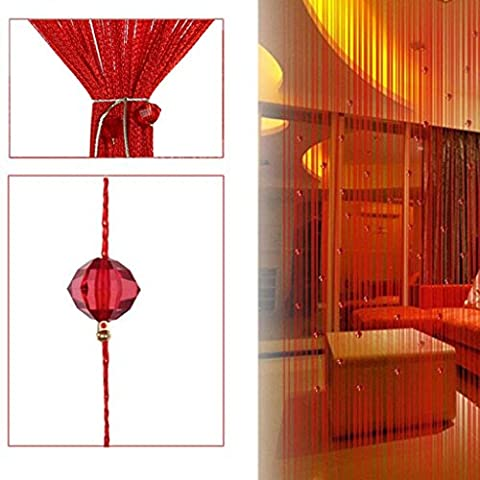 FLORATA 2 Pieces Decorative Door String Curtain Wall Panel Fringe Window Panel Room Divider Blind Divider Crystal Beads Strip Tassel Screen Home Red