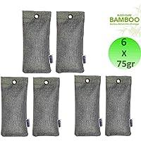 6 x 75gr ensemble Arrêt d'odeur - BUDDYCARE® - BAMBOU Purificateur d'air / Déshumidificateur biologique