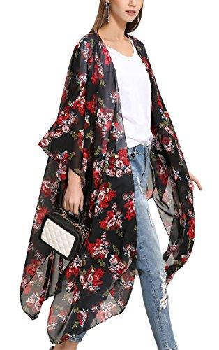 Hibluco Damen Florale Kimono Cardigan Strand Chiffon Bluse Tops Bikini Cover Up (Medium, K95)