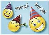16 Einladungskarten zum Kindergeburtstag - Motiv Emoticon Party - für Kinder, Jungen, Mädchen,Feier Geburtstagseinladungen im Set