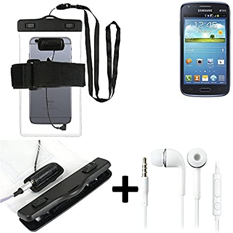 Waterproof Case with earphone inlet for Samsung Galaxy Core Duos + headset included, transparent | Jogging Armband Phone Case beach bag outdoor Case Underwater shell for beach - K-S-Trade