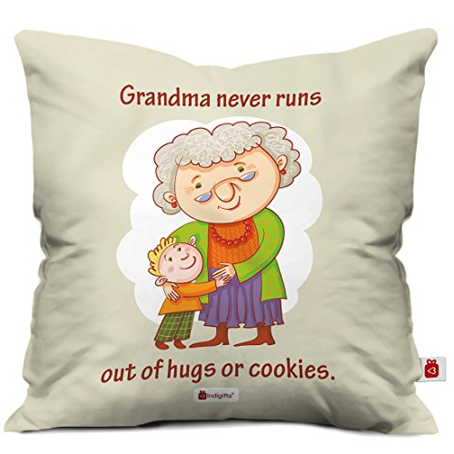 Indigifts Grandparents Special Never Ending Grandma Love Grey Cushion Cover 12x12 inch with Filler - Gift for Grandmother-Dadi-Birthday-Anniversary