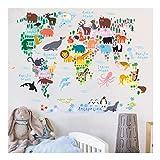 Kuke Wandtattoo Kinder Bildungstier Sehenswürdigkeiten Weltkarte Abnehmbare DIY Wand-Aufkleber Wandsticker für Wohnzimmer Sofa Schlafzimmer (90 x 70cm)