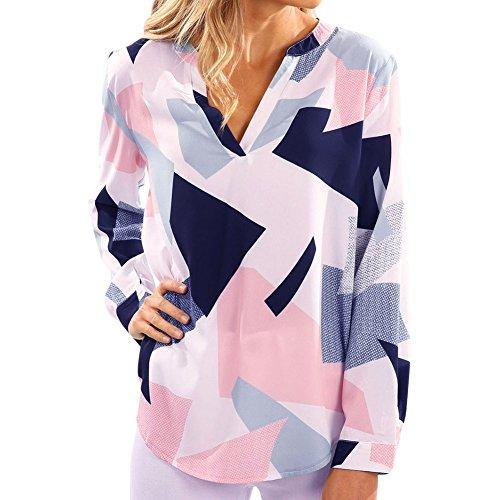 LAEMILIA Chemsie Femmes Manches Longues Chemiser à Carreaux Col V Tops Slim Elégante Blouse Shirts