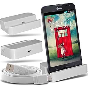 (White)LG L90 D405 Micro-USB-Desktop-Ladestation stehen Mount & Micro USB Laptop / PC Data Sync-Ladekabel By Fone-Case