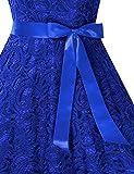 KOJOOIN Damen Vintage Kleid Brautjungfernkleid Knielang Spitzenkleid Cocktailkleid Empire Blau XS Vergleich
