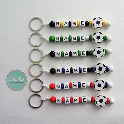 Schlüsselanhänger mit Namen Kinder Gravur Motivperle Fußball Schultasche Rucksack Kindergartentasche Schlüsselring Vereinsfarben mit Name | Junge Mädchen Namenskette