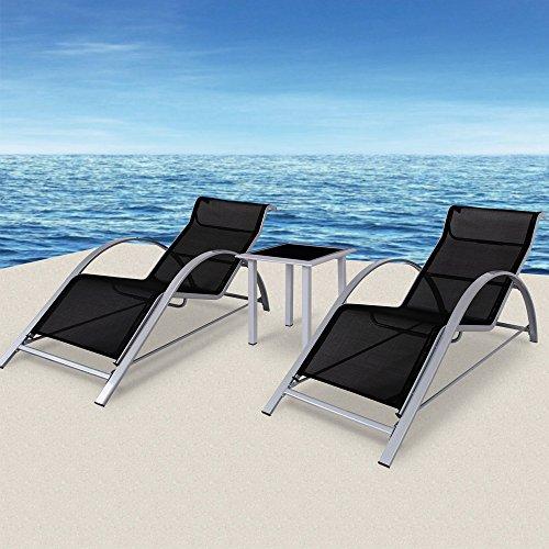 floristikvergleich.de 2x Sonnenliege Gartenliege Liegestuhl Strandliege Liege ? Set aus 2 Liegen und 1 Glastisch ? Aluminium