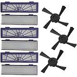SMARTLADY 6 Pcs Filtros + 3 Pcs Cepillos laterales Reemplazo Parte Accesorios para Neato Botvac 70e 75 80 85