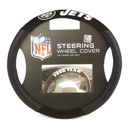 Fremont Die NFL New York Jets Poly-Suede Steering Wheel Cover