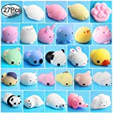 Mochi Animals Stress Toys, Outee 27 Piezas Mochi Squishy Toy Mini Animales Squishy Alivio de Estrés Juguetes de Animales Mochi Squeeze Toys Mini Oso Fox Sheep Chick Panda Squishies, Color Aleatorio