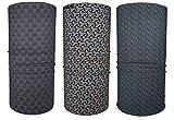 Hilltop 3 x Motorrad Multifunktionstuch, Kopftuch, Halstuch, Bandana 3-er Set in ausgewählten Designs, 3er Set/Farben:Grey Orange Selection