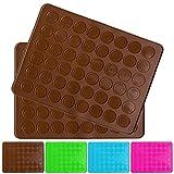 Belmalia 2x Backmatte für 24 Makronen, Silikon, 48 Mulden, antihaftbeschichtet, braun, Backofen, Matte, Macrones, Macarons