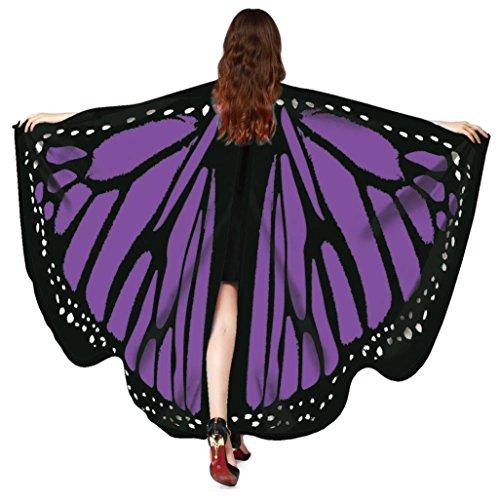 OVERDOSE Frauen 197 * 125CM Weiche Gewebe Schmetterlings Flügel Schal feenhafte Damen Nymphe Pixie Halloween Cosplay Weihnachten Cosplay Kostüm Zusatz (168 * 135CM, D-Purple-168 * 135CM)