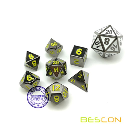 Black Metal, Mini - (Bescon 10MM Mini Solid Metal Dice Set Glossy Black with Yellow Numbers, Mini Metallic Polyhedral D&D RPG Miniature Dice 7-sets)