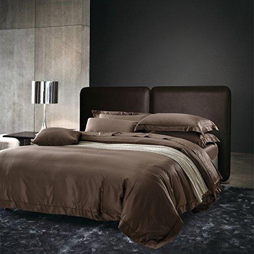Brown Solid Kissenbezug Set (BB.er Einfache solid ice Seide angenehm weiche Betten 4-Teiler Doppelbett Bettbezug Kissenbezug Bettwäsche, braun, 220 x 240 cm)