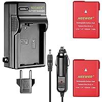 Neewer 2-Pack 1050mAh EN-EL14 Batería Recargable de Ion de Litio (Rojo) y Cargador de Batería LED (3-Enchufe) para Nikon D3200 D3100 D5200 D5100 D5300 DSLR Coolpix P7800 Cámara Digital MB-D31 MB-D51