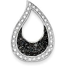 Plata de ley con circonitas en color negro y transparente en forma de lágrima colgante - JewelryWeb